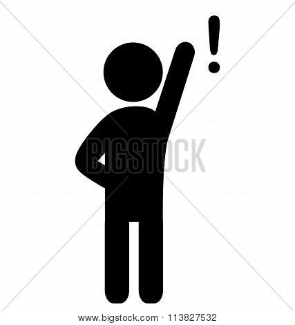 Man with exclamation point flat icon pictogram isolated on white