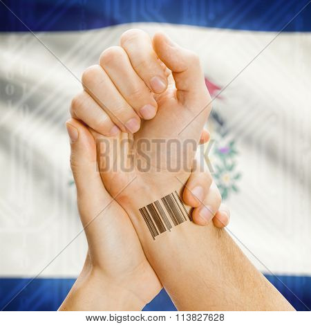 Barcode Id Number On Wrist And Usa States Flags On Background - West Virginia