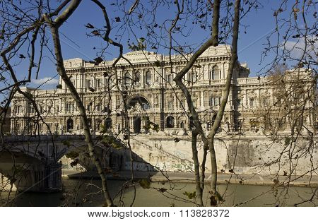 View Of Italian Supreme Court Of Cassation Behind The Trees