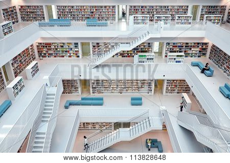 White interior of modern library