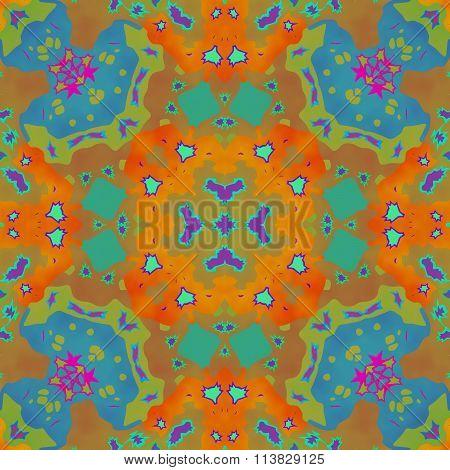 Abstract seamless ornamental kaleidoscopic pattern in tie-dye style