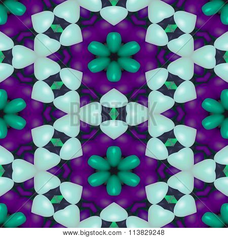 Abstract decorative kaleidoscopic seamless colorful floral glossy wallpaper