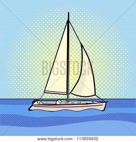 Sailing yacht pop art style vector