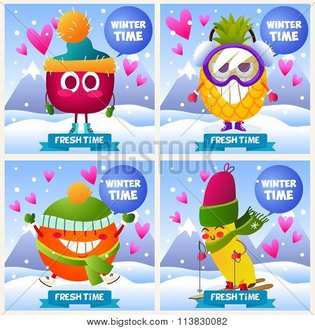 A set of cute fruit. Illustration with funny characters. Love and hearts. Funny food. time fresh. Se