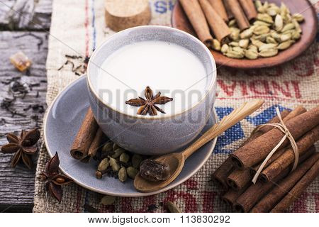 Indian masala tea with spices and milk