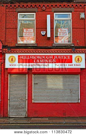Liverpool Uk January 8Th 2016, The Hillsborough Families Support Shop Still Fighting For Justice For