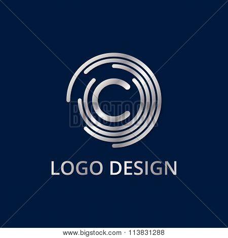 Stock logo letter c of silver. Vector illustration