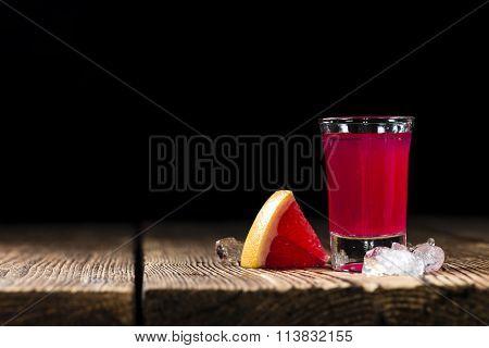 Shot Glass With Grapefruit Liqueur