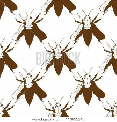 Illustration Of A Bee. Wild Nature. A Swarm Of Bees. Seamless Pattern.