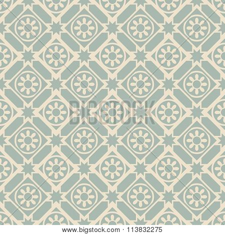 Elegant antique background image of round flower star check pattern.