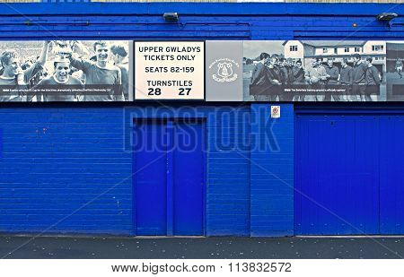 Liverpool Uk January 8Th 2016. Goodison Park Stadium, Home Of Everton Football Club. Liverpool Uk.