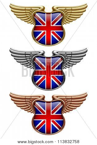 Gold, silver and bronze award signs with wings and Great Britain state flag