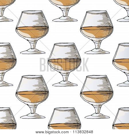 Painted Illustration With Drinks. A Glass Of Brandy. Seamless Pattern.