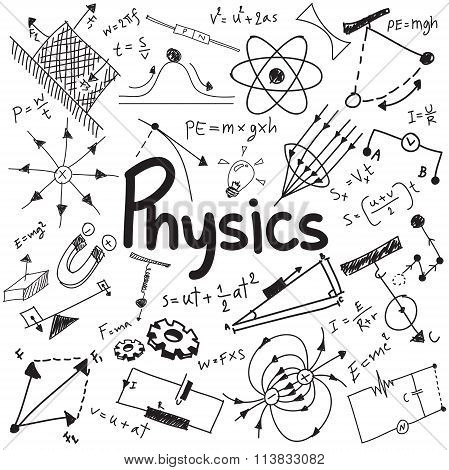 Physics Science Theory Law And Mathematical Formula Equation, Doodle Handwriting And Model Icon In W