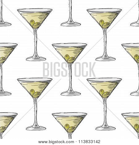 Painted Illustration With Drinks. Martini With Olives. Seamless Pattern.