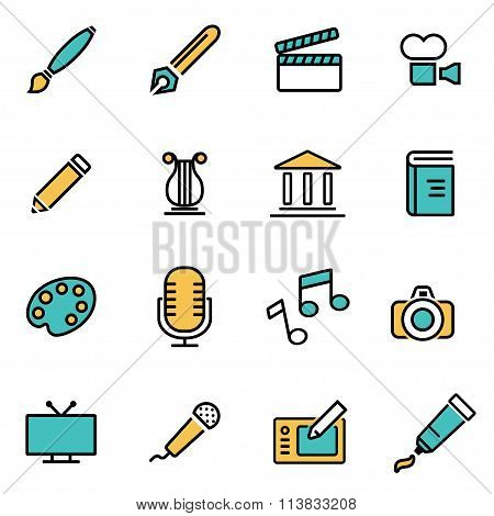 Trendy Flat Line Icon Pack For Designers And Developers. Vector Line Art Icon Set