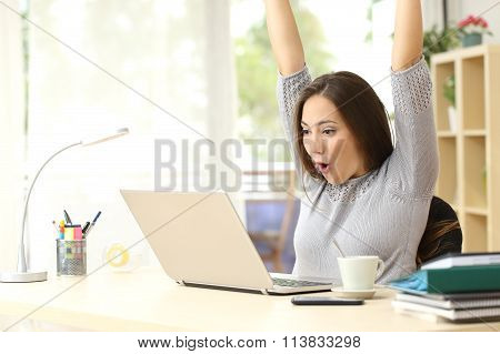 Euphoric And Surprised Winner Winning Online
