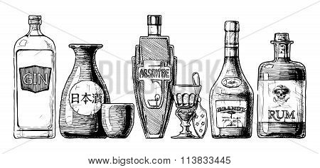 Bottles Of Alcohol. Distilled Beverage.