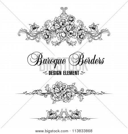 Ornamental Border, Frame. Baroque Pattern.