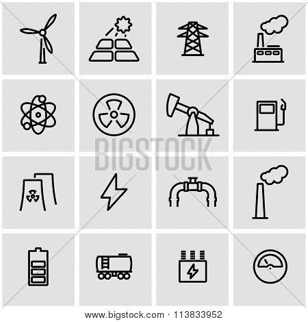 Vector Line Energetics Icon Set