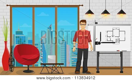 Man architect working with Blueprint at Office or studio.