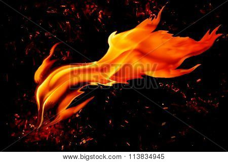 Red  Hot Flame On Black Background with sparks