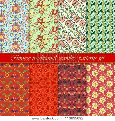 Chinese asian seamless vector pattern background set. Traditional ornament.