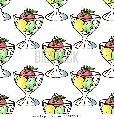 Illustration Of Sweets. Assorted Ice Cream. Happy Holiday. Seamless Pattern.