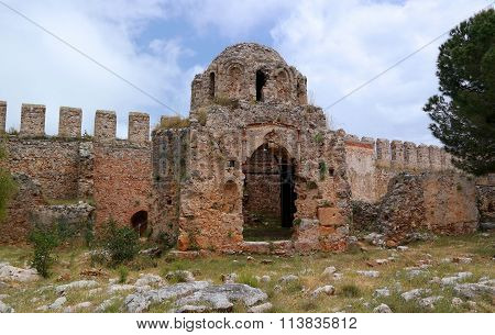 Turkey. The Ruins Of A Byzantine Church In Fortress Alanya