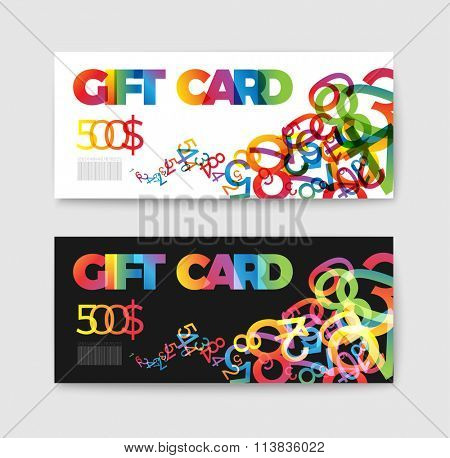 Set of gift (discount) voucher cards - with colorful numbers