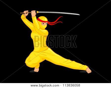Female ninja with a katana sword isolated over black