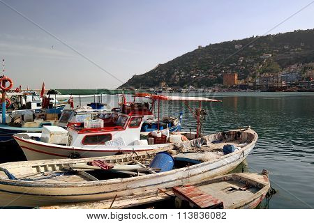 Boats Fishing In The Harbor Of Alanya