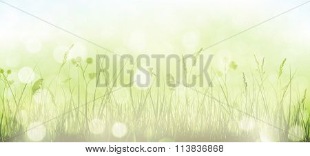 Grass border with faintly visible light blue sky in horizontal, panorama format. Blurry light dots, light effects and partly desaturated colors give it a dreamy feeling for the spring, easter season.