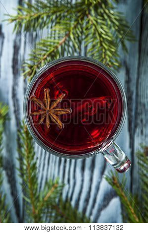 Homemade mulled wine with anise and cinnamon