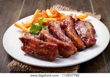 Roasted Pork Ribs And Potato Fries