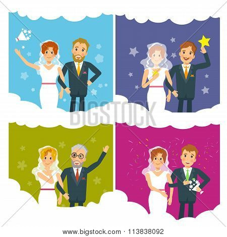 Newlyweds Brides And Grooms Vector Wedding Collection