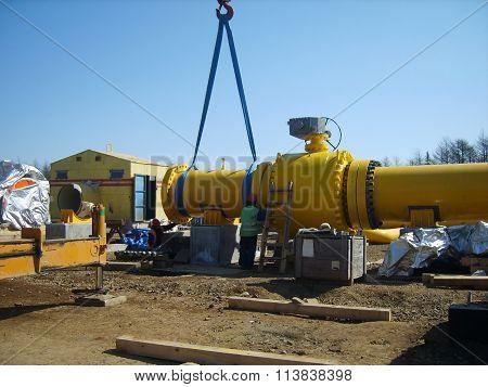 Russia, Sakhalin - November 15, 2014: Platform of construction of pipelines. Booster pump station.