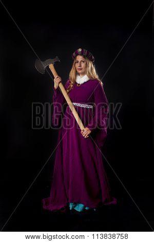 Medieval Queen Holding An Axe