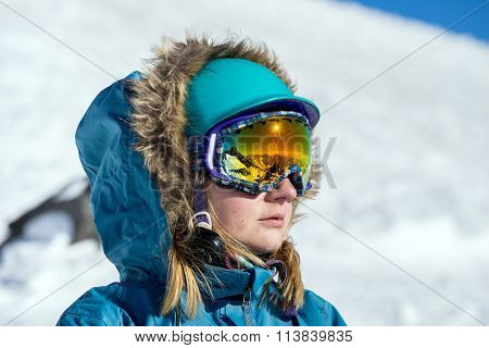 Portrait Of Young Woman At Ski Resort