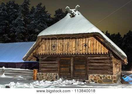 Shed in the winter night