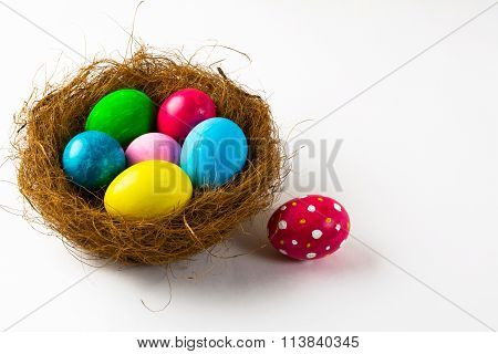 Easter Eggs In A Nest And Pink Easter Egg