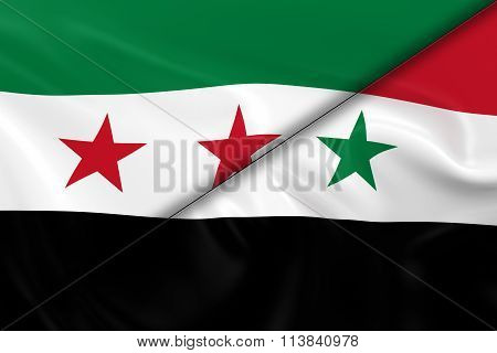 Syrian Crisis Concept Image - Flags Of The Syrian Opposition And The Syrian Government Divided Diago