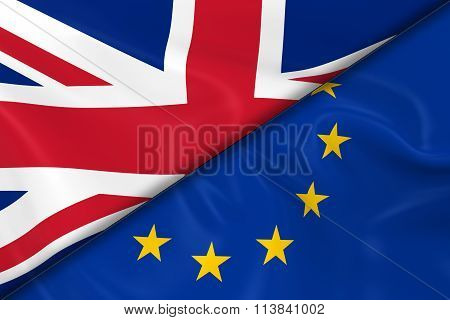 Flags Of The United Kingdom And The European Union Divided Diagonally - 3D Render Of The Uk Flag And