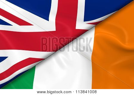 Flags Of The United Kingdom And Ireland Divided Diagonally - 3D Render Of The Uk Flag And Irish Flag