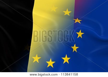 Belgian And European Relations Concept Image - Flags Of Belgium And The European Union Fading Togeth