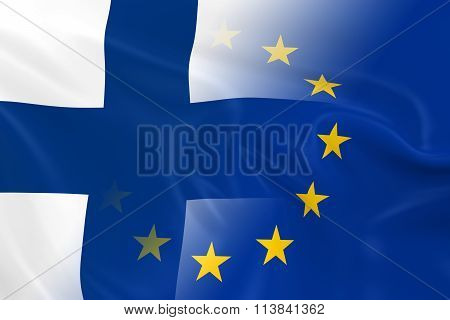 Finnish And European Relations Concept Image - Flags Of Finland And The European Union Fading Togeth