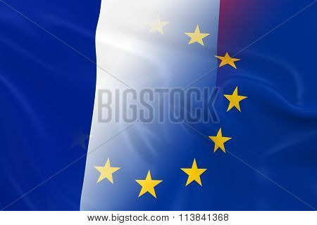 French And European Relations Concept Image - Flags Of France And The European Union Fading Together