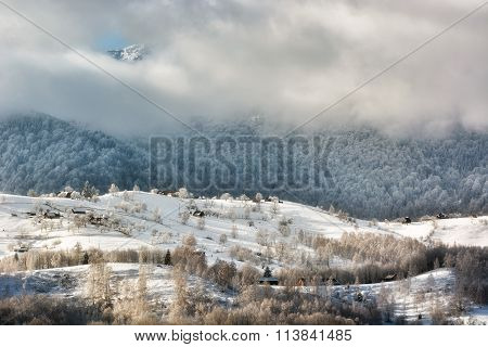 Sunny Day Of A Winter, On Wild Transylvania Hills With Bucegi Mountains In Background.