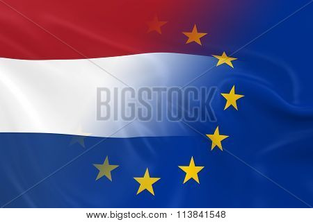 Dutch And European Relations Concept Image - Flags Of The Netherlands And The European Union Fading