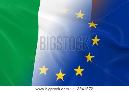 Irish And European Relations Concept Image - Flags Of Ireland And The European Union Fading Together